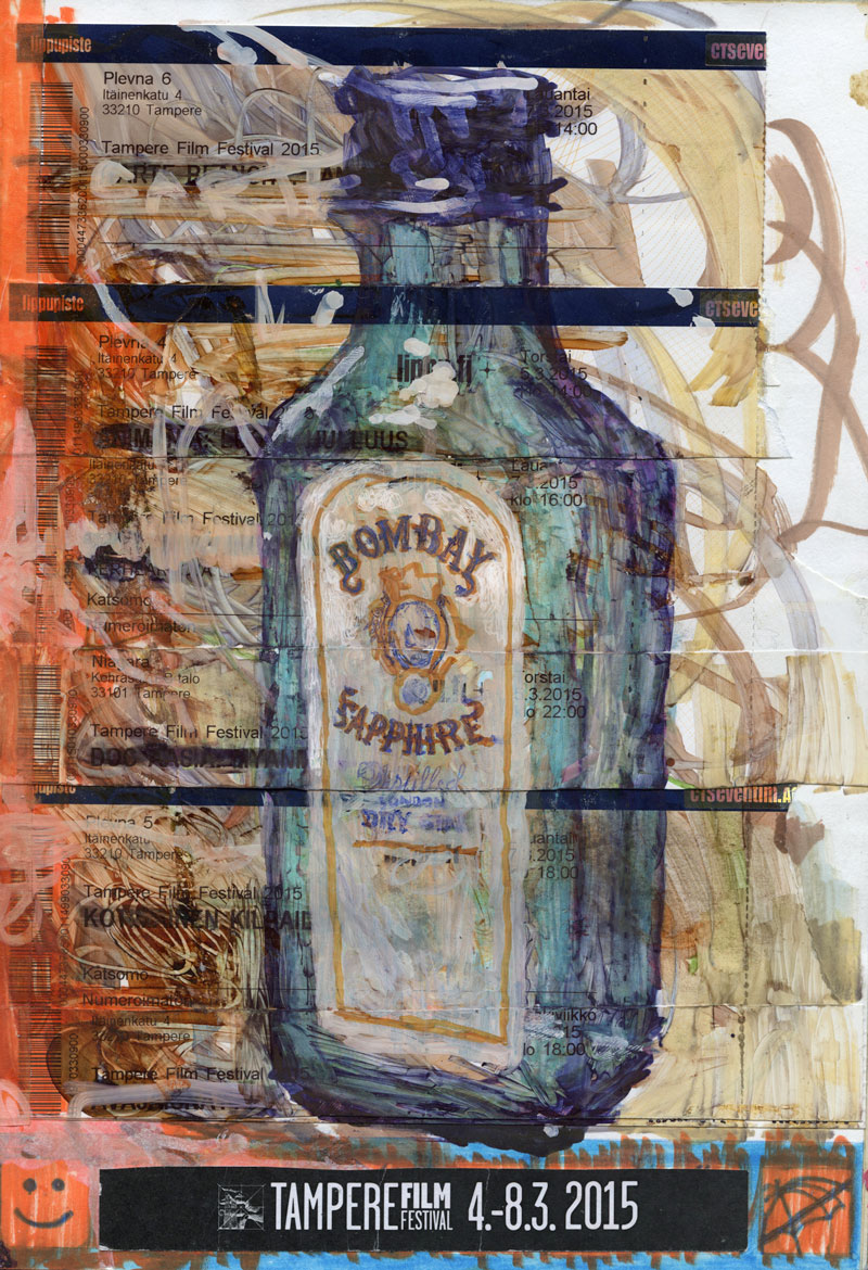 Bombay Sapphire / 2015 / collage and markers on paper / 29,7cm x 21cm