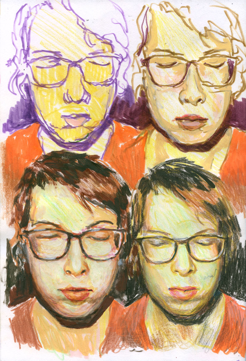 Four self-portraits / 2015 / markers and coloured pencils on paper / 29,7cm x 21cm