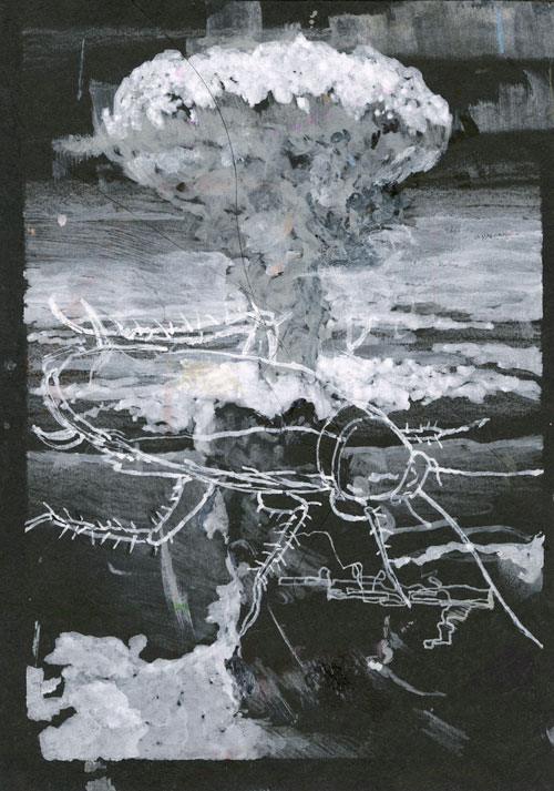 Mushroom cloud and roach / 2015 / markers on paper / 21cm x 14,8cm