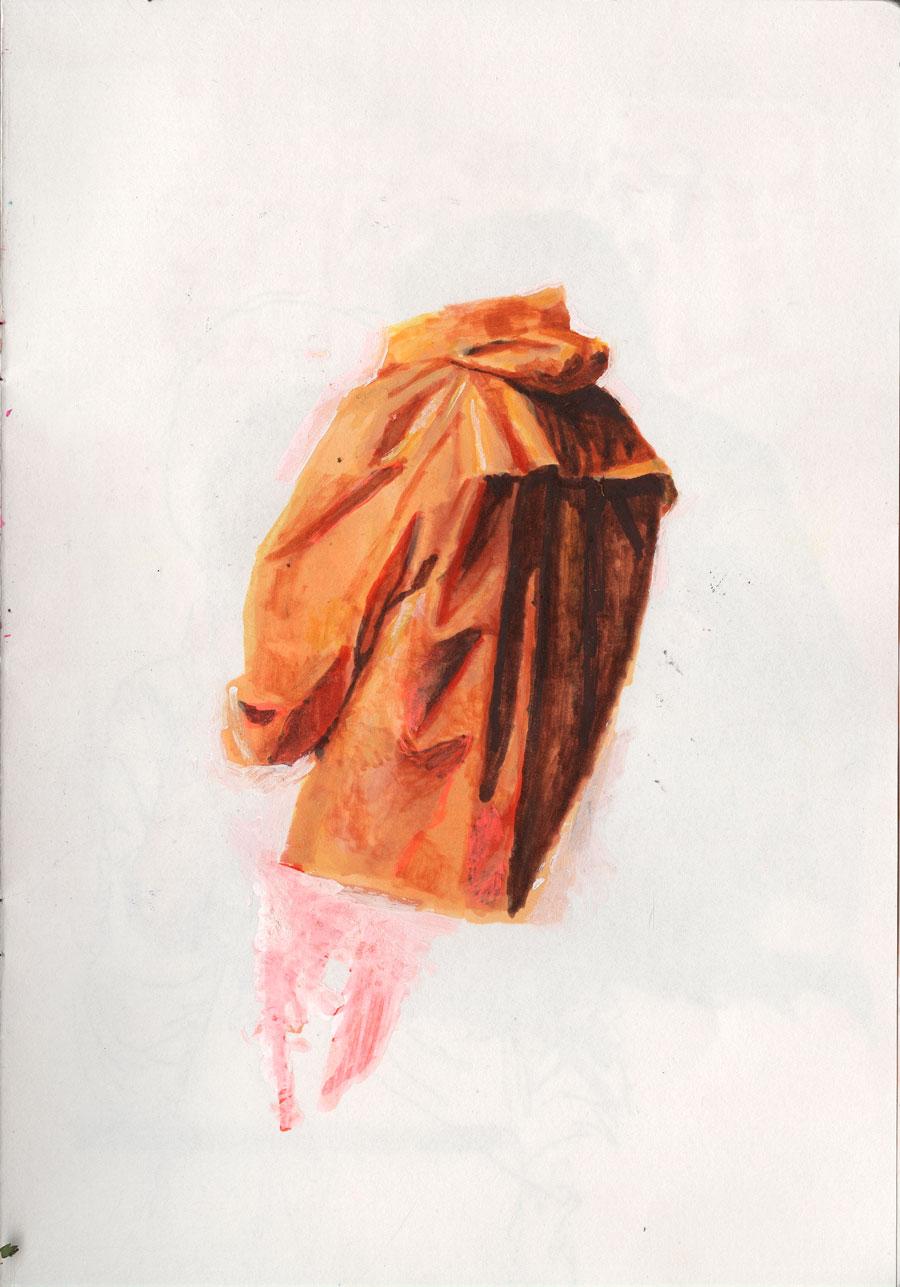 Raincoat / 2015 / markers on paper / 29,7cm x 21cm
