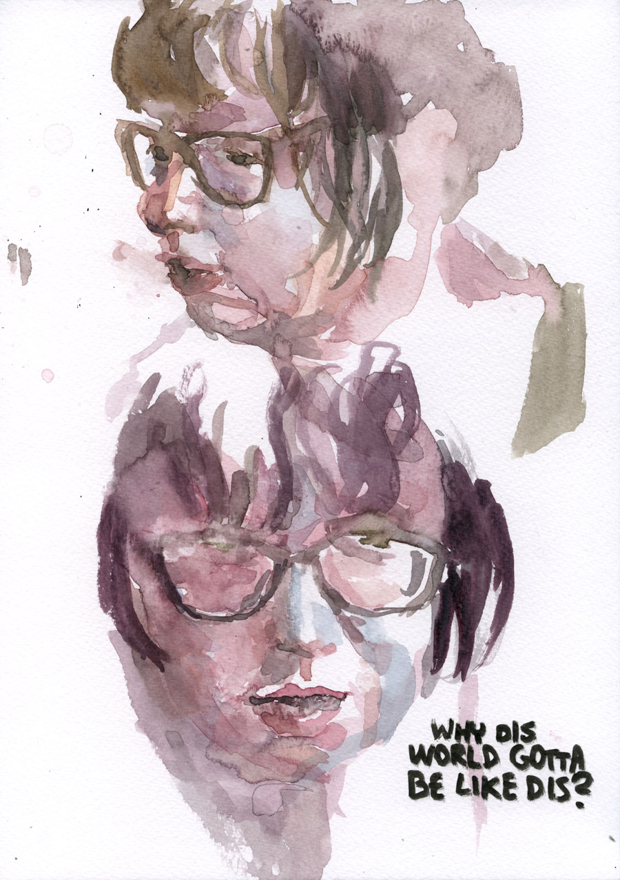 Two self-portraits / 2016 / watercolour on paper / 29,7cm x 21cm